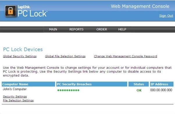 LapLink PC Lock Main Page