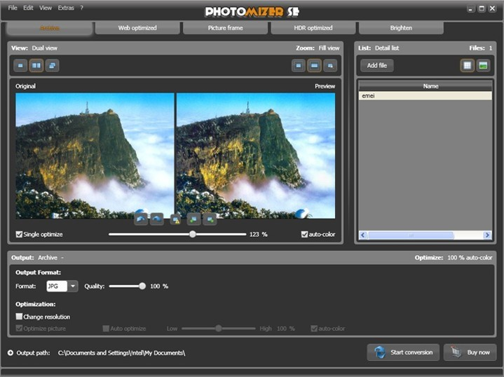 Photomizer SE: one-click photo optimizer