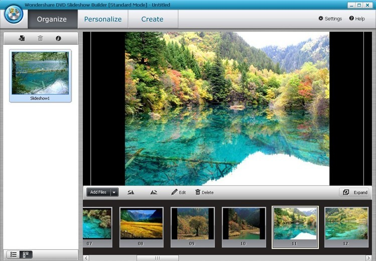 Wondershare DVD Slideshow Builder Standard - organize tab