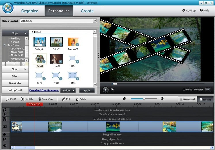 Wondershare DVD Slideshow Builder Standard - Personalize Section