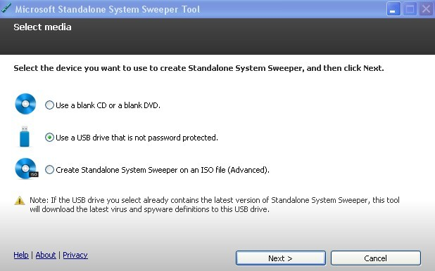 Creates a bootable media with Microsoft Standalone System Sweeper
