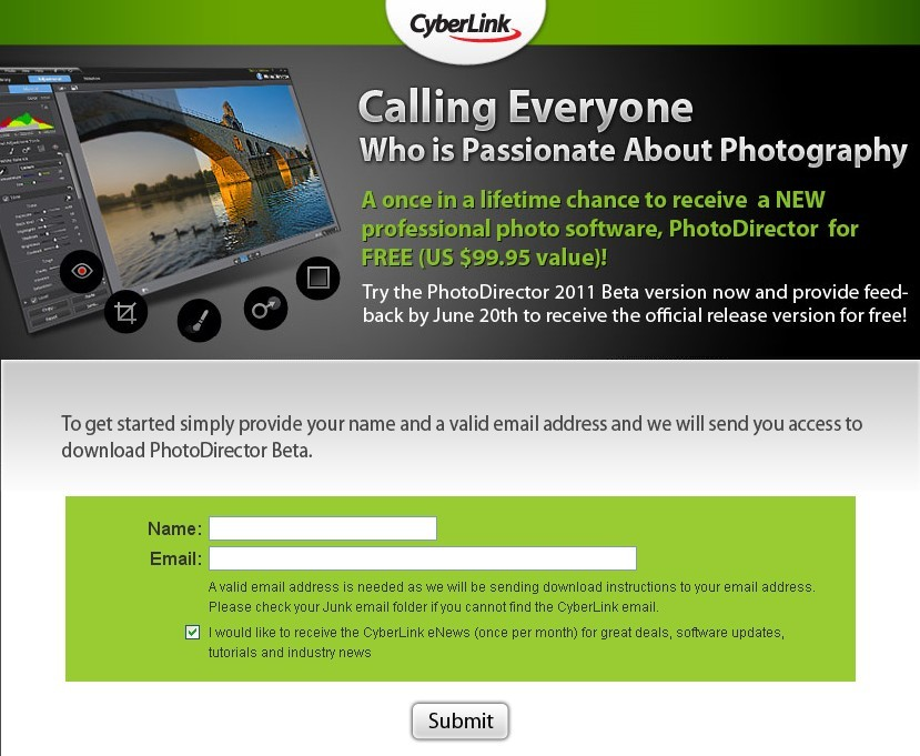 Test CyberLink PhotoDirector 2011 beta to Get the Full Version For Free
