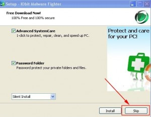 During installation IObit Malware Fighter will suggest you to Install Advanced SystemCare & Password Folder.