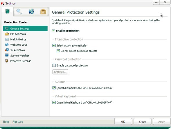 Kaspersky Anti-Virus 2012 - Settings window