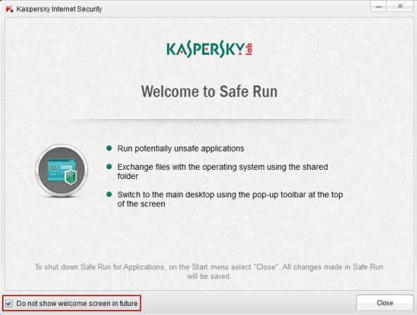 Kaspersky Internet Security 2012 - Safe Run for Applications Window