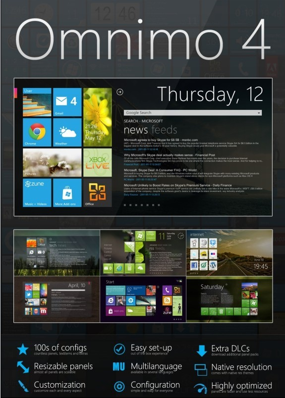 Omnimo 4: a Windows Phone 7 inspired multifunctional interactive desktop information center