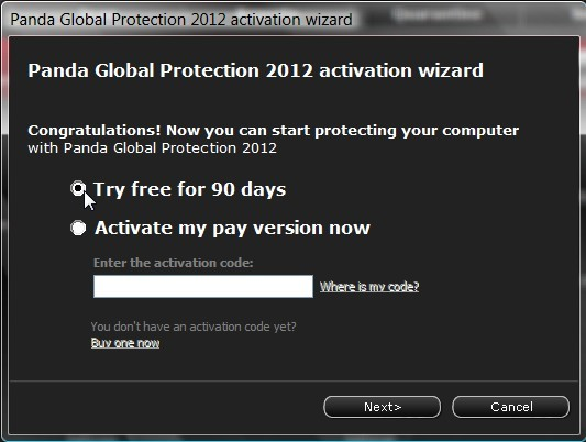 Panda Global Protection 2012 Activation Wizard