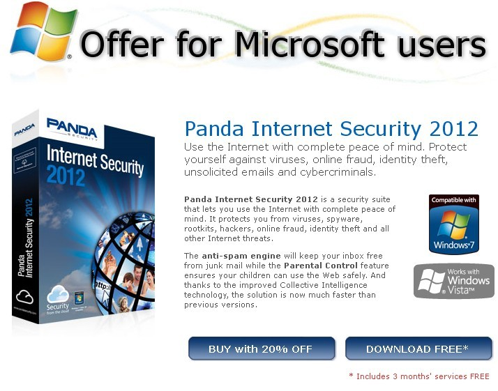 Panda Internet Security 2012 Promotion Offer for Microsoft Users