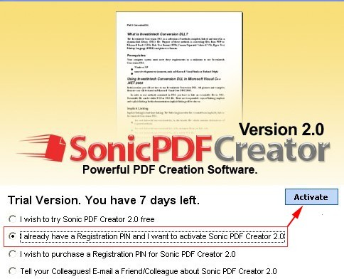 Sonic PDF Creator 2.0 Activation Screen