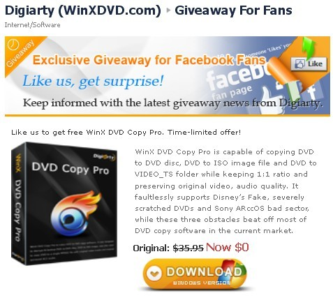 WinX DVD Copy Pro Facebook Free Giveaway