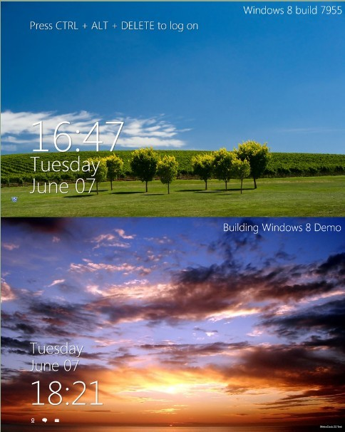 Windows 8 Metro Style Clock and Logon Screensaver for Windows 7