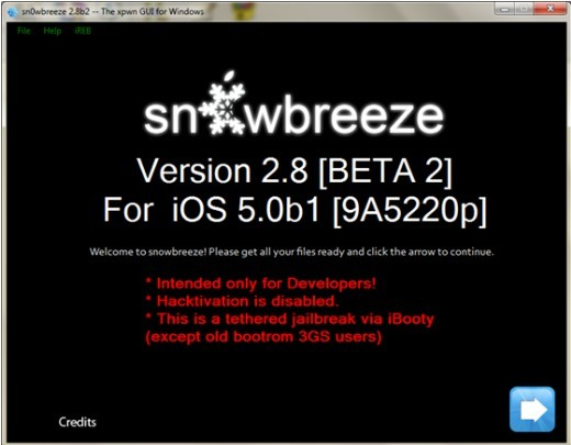 Sn0wBreeze v2.8b2 for jailbreak iOS 5.0 beta 1, except iPad 2