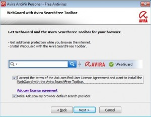 Accept the End User License Agreement to install the Avira Toolbar with WebGuard