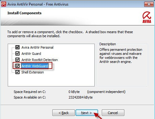 """Click on the button Next and make sure that the """"AntiVir WebGuard"""" component is checked"""