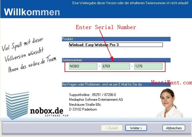 Enter Serial Number to install Easy Website Pro 3