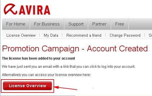 Avira Premium Security Suite 10 Promotion Campaign - Account Created