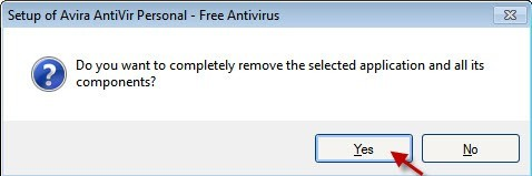 Answer Yes to confirm that Avira Toolbar will be removed
