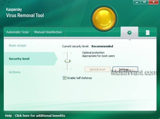 Kaspersky Virus Removal Tool 2011 - Security Level
