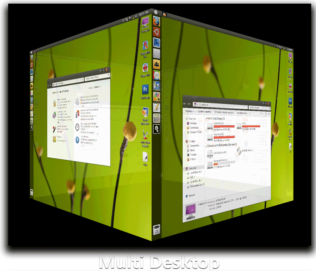 Ubuntu 11.04 Natty Narwhal Theme / Transformation Pack for Windows 7 - Multi Desktop