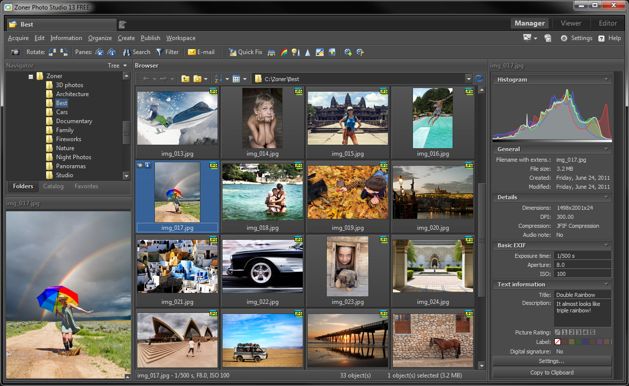 Zoner Photo Studio 13 - FREE Photo Management Software