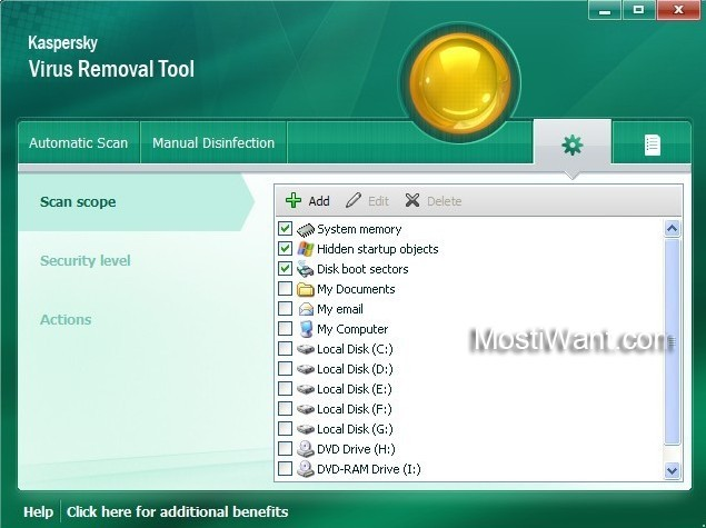 Kaspersky Virus Removal Tool 2011 - scan scope