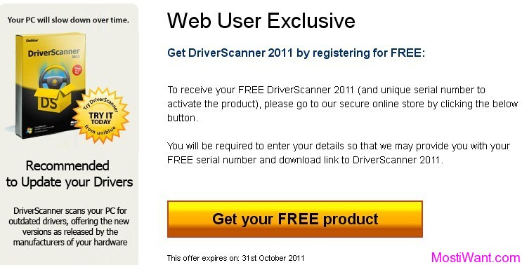 Uniblue Driver Scanner 2011 Giveaway Page