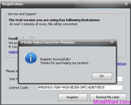 4Media Video Converter Platinum full version Registration