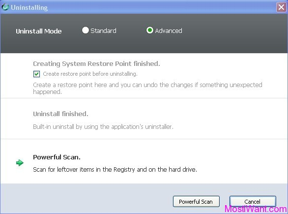 IObit Uninstaller - Advanced Uninstallation Mode