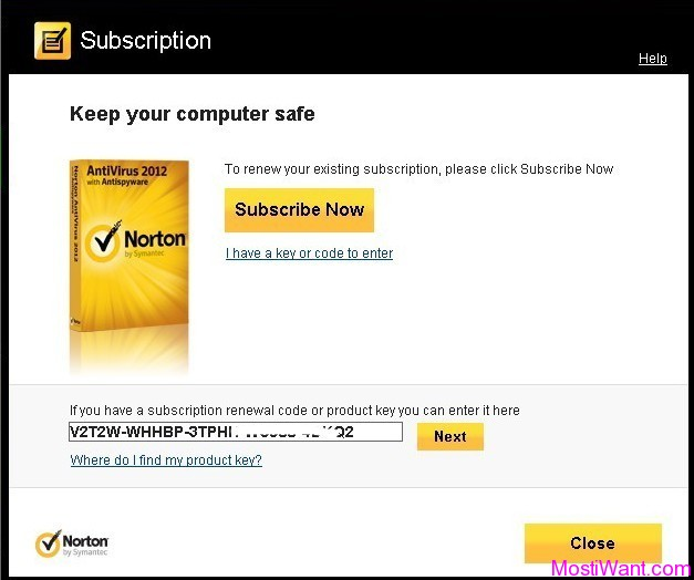 Norton AntiVirus 2012 - Enter the Product Key