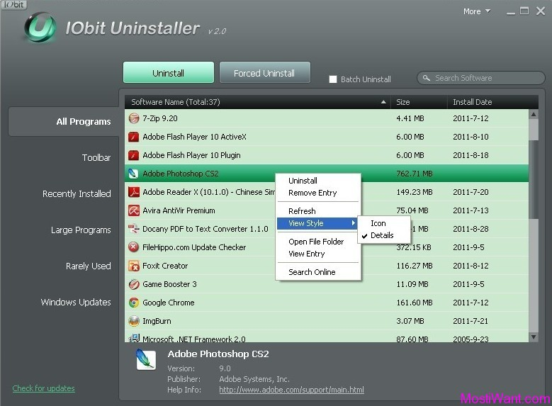 IObit Uninstaller 2.0: Windows Software Uninstaller Freeware