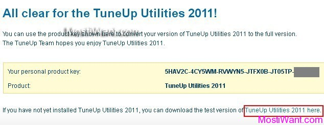 TuneUp Utilities 2011 Free Product Key (Activation Code)