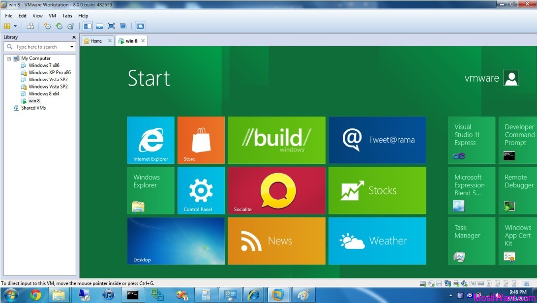 Windows 8 in VMware Workstation 8
