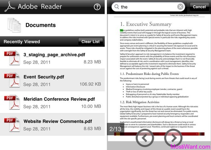 Adobe PDF Reader App for iOS