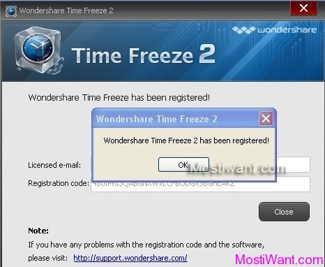 Register full version Wondershare Time Freeze with your emailid & Key