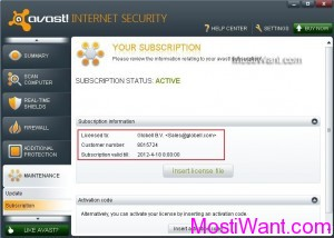 Avast Internet Security 2012 Free 6 months License File
