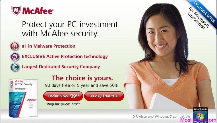 McAfee Internet Security 2012 Free 90 days Trial Version