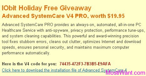 IObit Advanced SystemCare Pro 4.2 Serial Licene Code