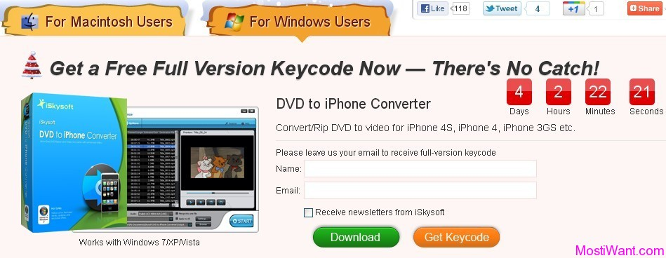 iSkysoft DVD To iPhone Converter Serial Key for Free (Win & Mac)