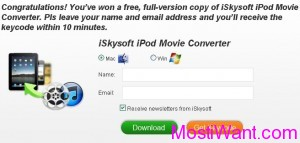 iSkysoft iPod Movie Converter Free Registration Code