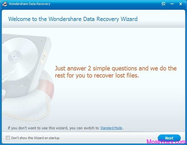 Wondershare Data Recovery: Wizard Mode