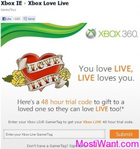 Xbox Live Gold Membership Free 48 Hour Trial Code
