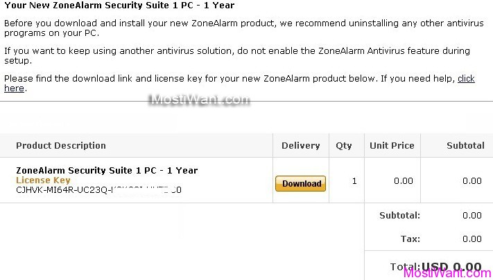 ZoneAlarm Internet Security Suite 2012 Free 1 Year Serial Number