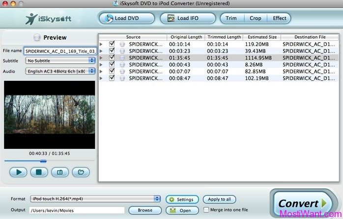 iSkysoft DVD to iPod Converte for Mac