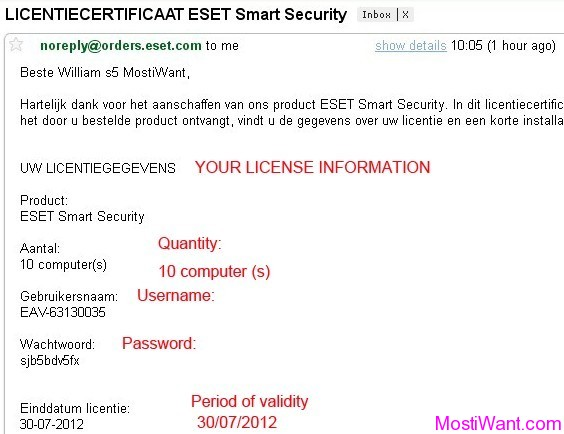 eset license key to username and password