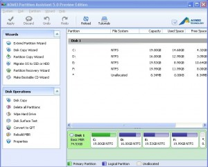 Aomei Partition Assistant 5.0 Preview Edition