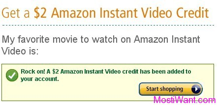 FREE Amazon Instant Video Credit