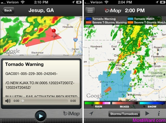iMapWeather Radio App Free for iPhone and iPod Touch