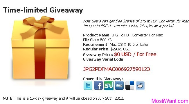 JPG To PDF Converter for Mac Free Giveaway