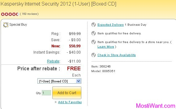 Kaspersky Internet Security 2012 (1 PC) Free after rebate