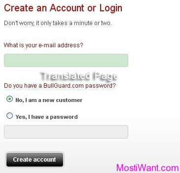create / login your Bullguard account